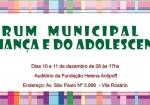 Fórum Municipal da Criança e do Adolescente acontece em Ibirité